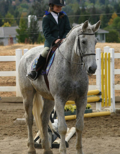 kid riding a gray horse
